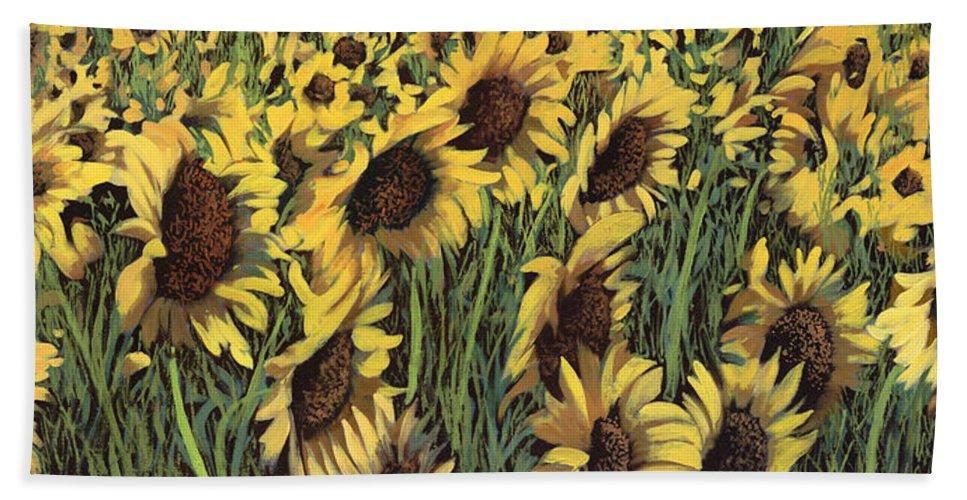 Sunflower Bath Towel featuring the painting Girasoli Meno Gialli by Guido Borelli