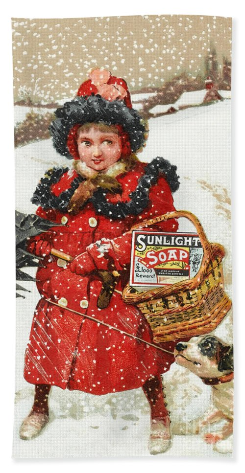 Historic Hand Towel featuring the photograph Girl And Dog In Ad For Sunlight Soap by Wellcome Images
