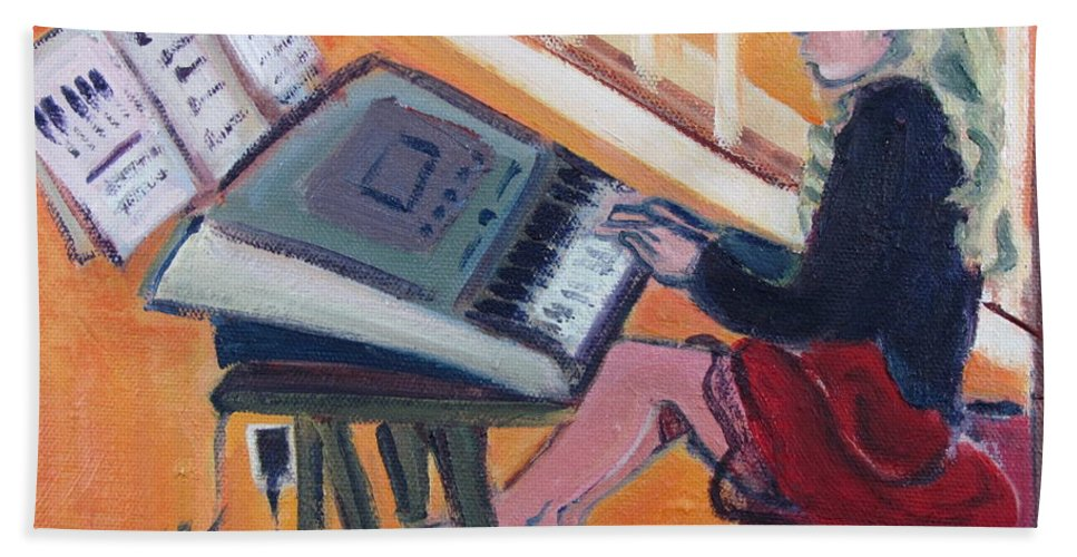 Girl With Piano Hand Towel featuring the painting Girl At Keyboard by Betty Pieper