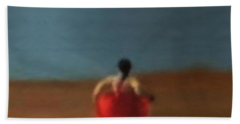 Girl Bath Sheet featuring the painting Girl By River-iii by Kunchar Asthula