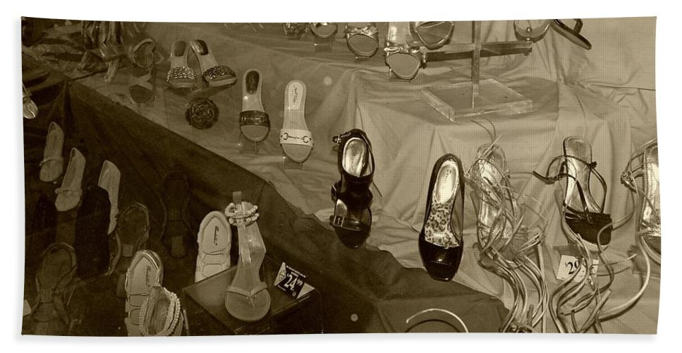 Shoes Bath Towel featuring the photograph Girl Cant Have Enough Shoes by Debbi Granruth