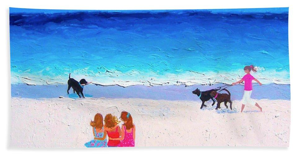 Beach Bath Sheet featuring the painting Girl Friends - Beach Painting by Jan Matson