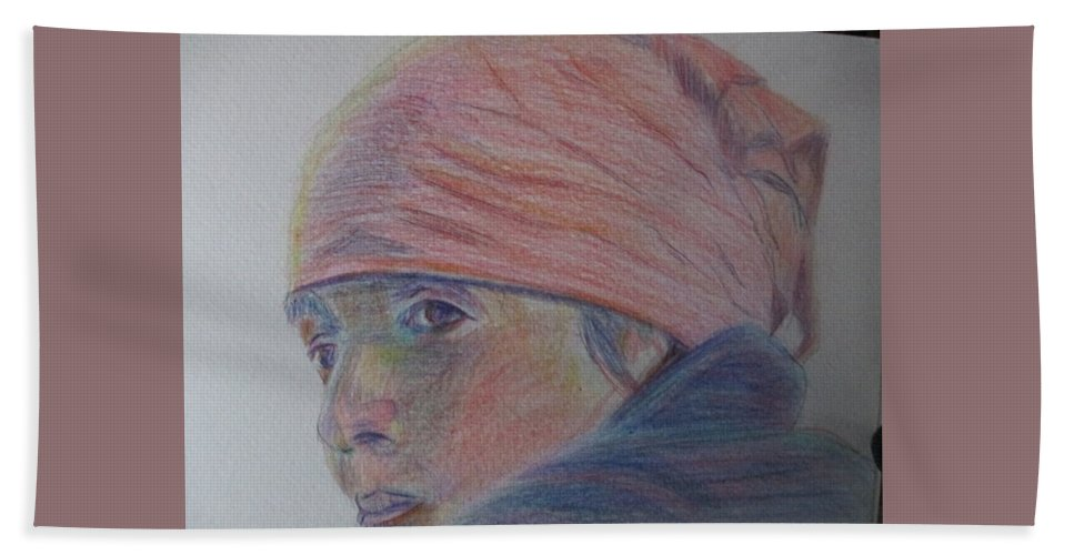 Colored Pencil Hand Towel featuring the painting Girl In A Bandana by Katherine Berlin