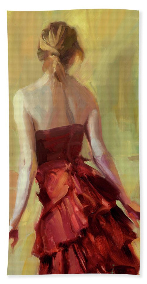 Girl Bath Towel featuring the painting Girl In A Copper Dress I by Steve Henderson