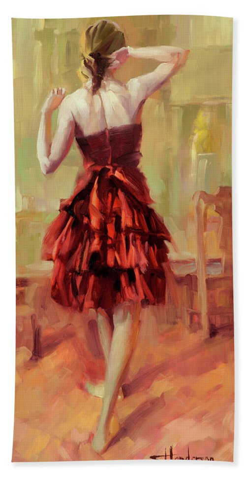 Dancer Bath Towel featuring the painting Girl In A Copper Dress IIi by Steve Henderson