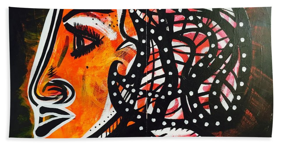#gdm #gdmart #gdmartist Hand Towel featuring the painting Girl In A Fast Car by Gdm