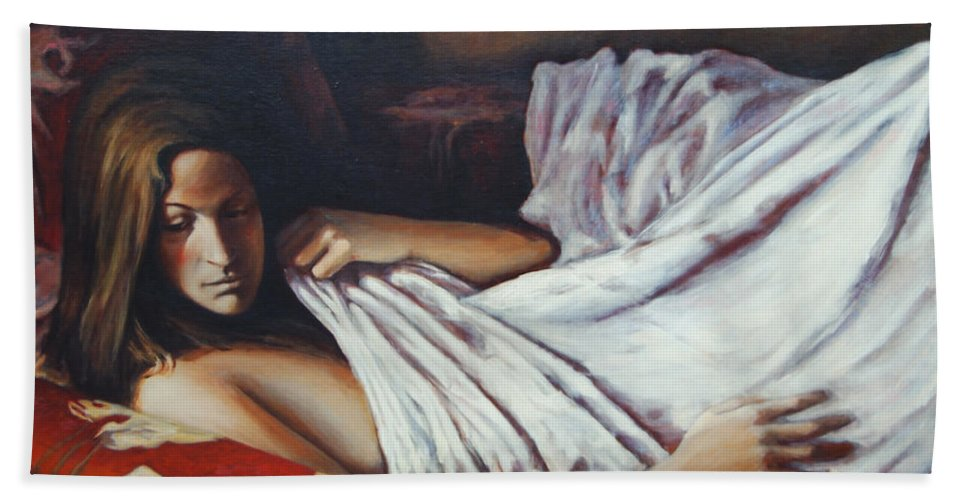 Girl Bath Towel featuring the painting Girl In A Red Chair by Rick Nederlof