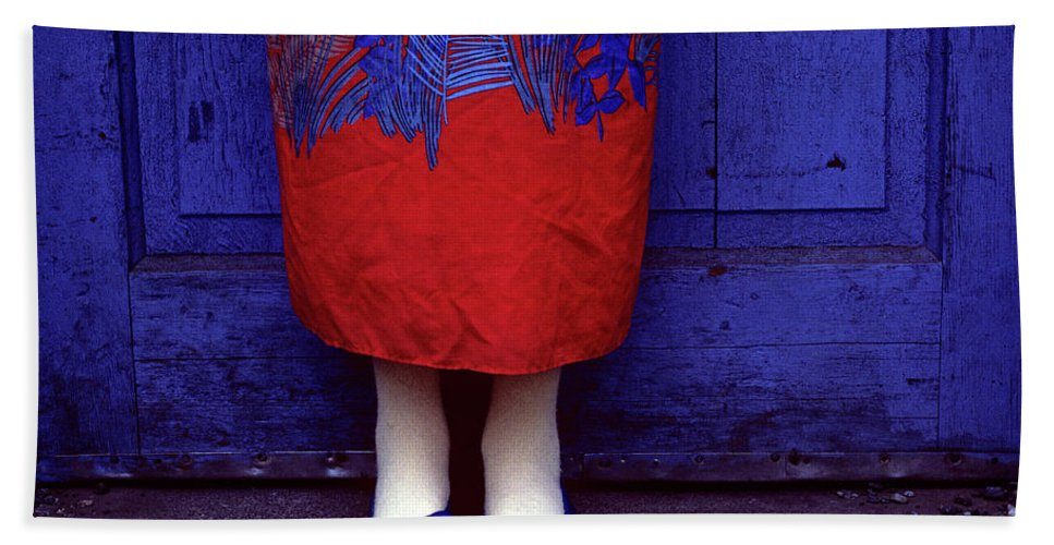 Girl Hand Towel featuring the photograph Girl In Colorful Flower Dress by Jim Corwin