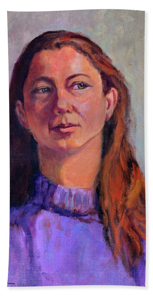 Portrait Bath Sheet featuring the painting Girl In Purple by Keith Burgess