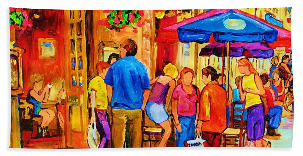 Montreal Cafe Scenes Bath Sheet featuring the painting Girl In The Cafe by Carole Spandau