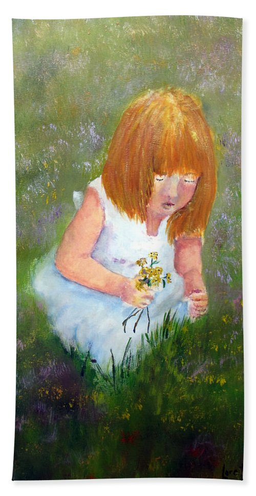 Child Hand Towel featuring the painting Girl In The Meadow by Loretta Luglio