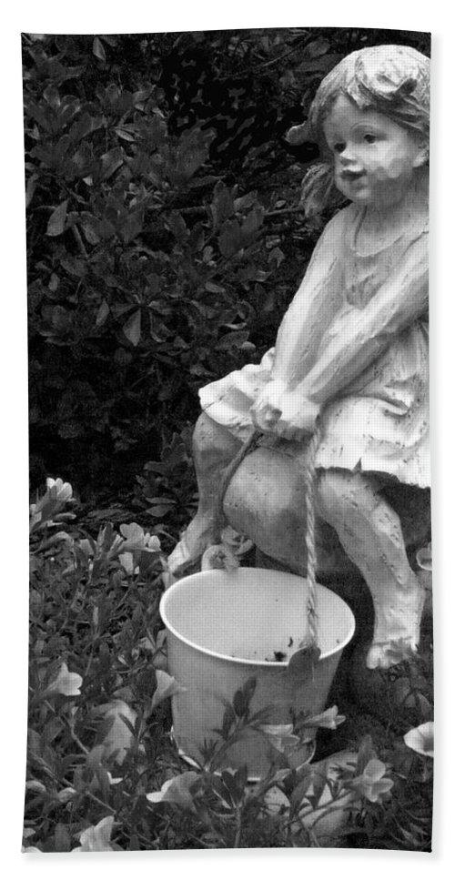Girl Bath Sheet featuring the photograph Girl On A Mushroom by Sandi OReilly