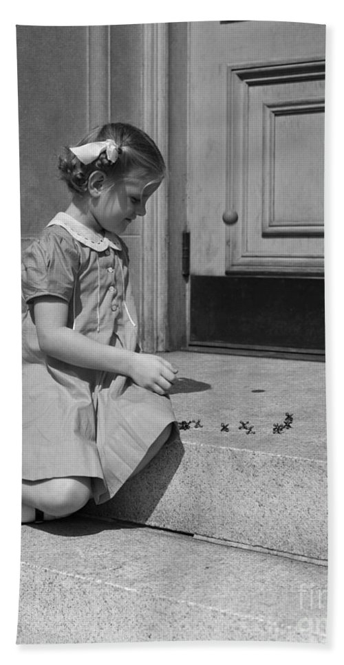1930s Bath Sheet featuring the photograph Girl Playing Jacks, C.1930-40s by H. Armstrong Roberts/ClassicStock