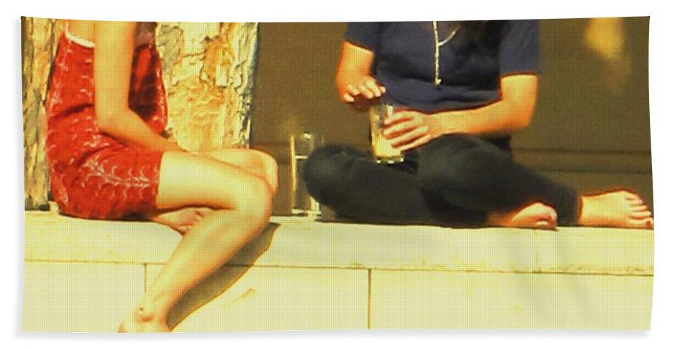 Girl Hand Towel featuring the photograph Girl Talk by Ian MacDonald