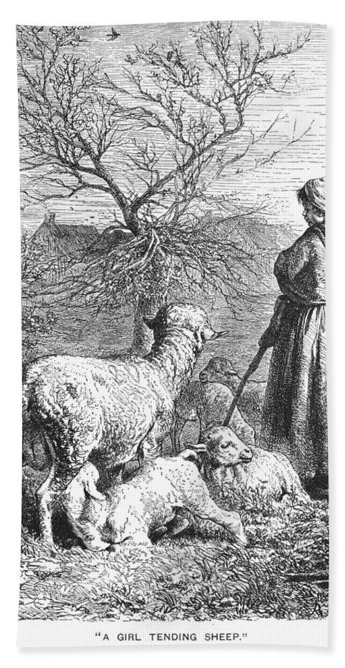 19th Century Bath Sheet featuring the photograph Girl Tending Sheep by Granger