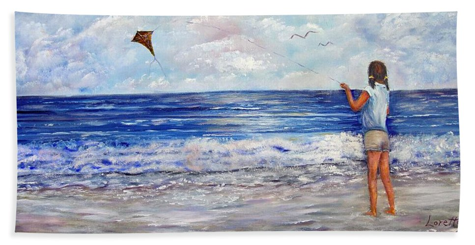 Kite Bath Sheet featuring the painting Girl With A Kite by Loretta Luglio