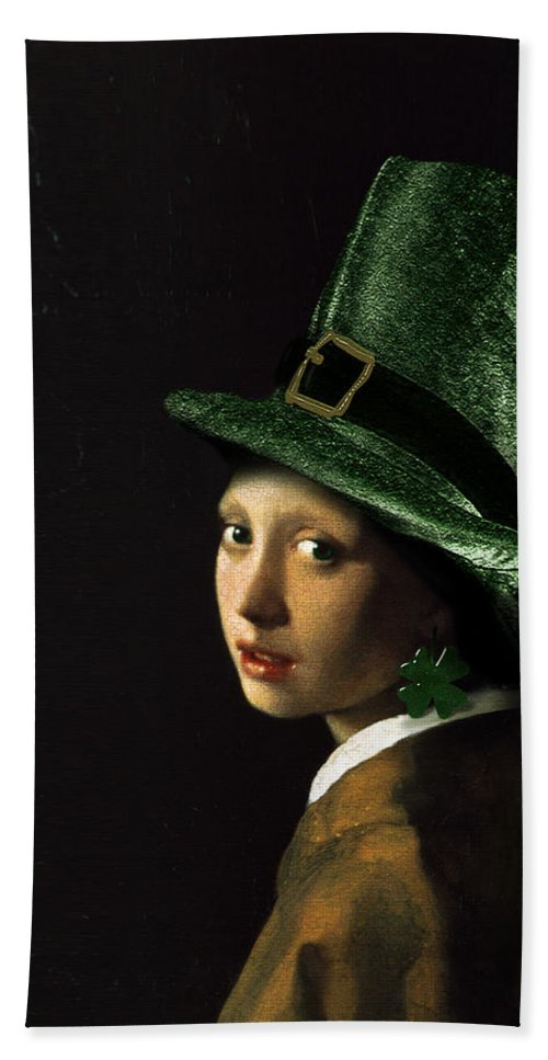 Vermeer Hand Towel featuring the painting Girl With A Shamrock Earring by Gravityx9  Designs