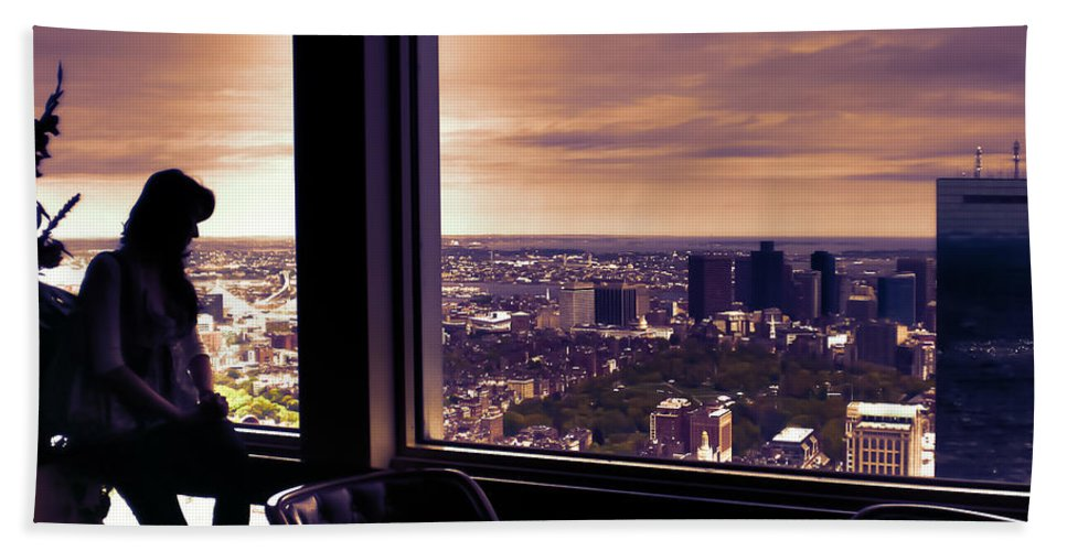 Urban Hand Towel featuring the photograph Girl With A View by Claudia M Photography