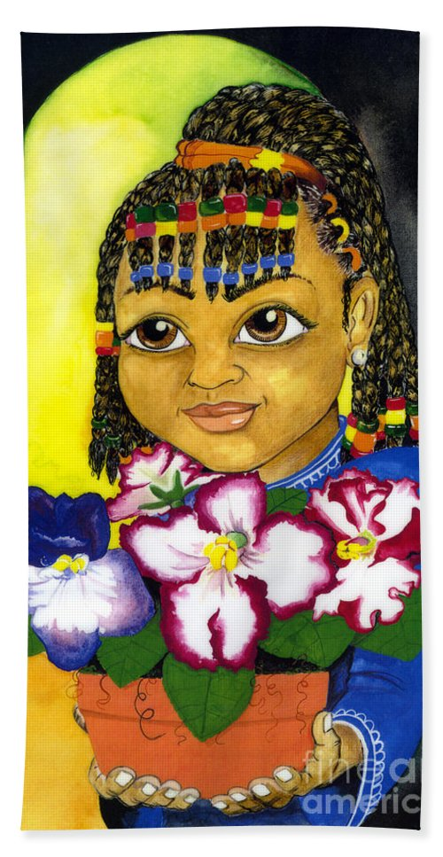 Girl Hand Towel featuring the painting Girl With African Violet by David Willis