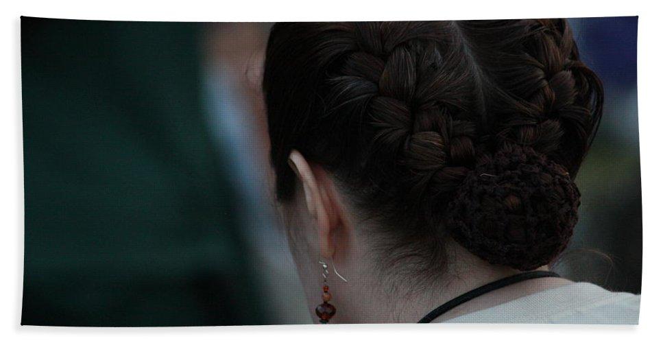Girl Bath Sheet featuring the photograph Girl With Braided Hair by Paul Borden