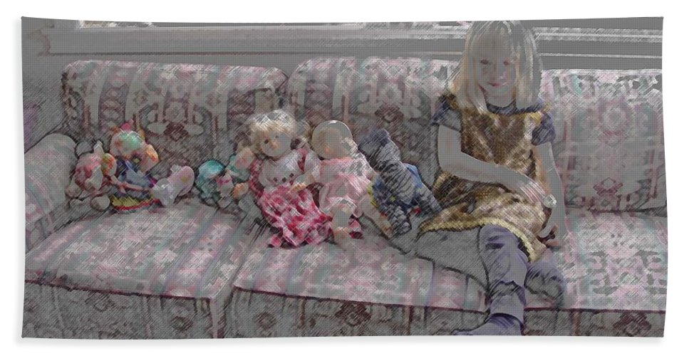 Girl Bath Towel featuring the digital art Girl With Dolls by Ron Bissett
