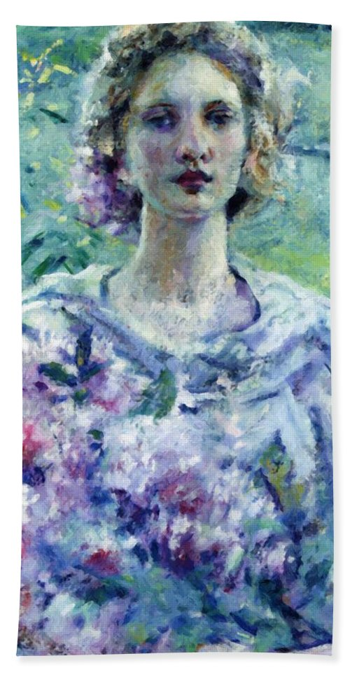 Girl Hand Towel featuring the painting Girl With Flowers by Reid Robert Lewis
