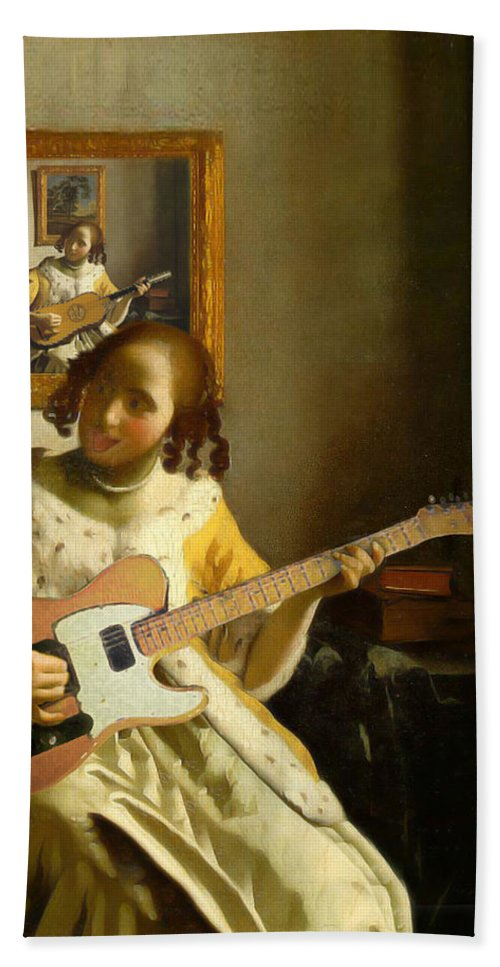 Vermeer Hand Towel featuring the painting Girl With Guitar by Gravityx9 Designs