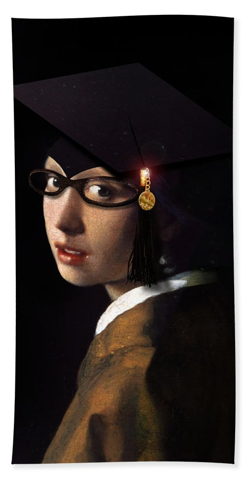 Vermeer Hand Towel featuring the painting Girl With The Grad Cap by Gravityx9 Designs