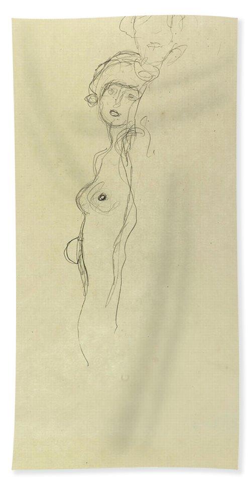 Gustav Klimt Hand Towel featuring the drawing Girlfriends by Gustav Klimt