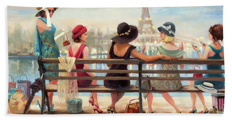 Paris Bath Towel featuring the painting Girls Day Out by Steve Henderson