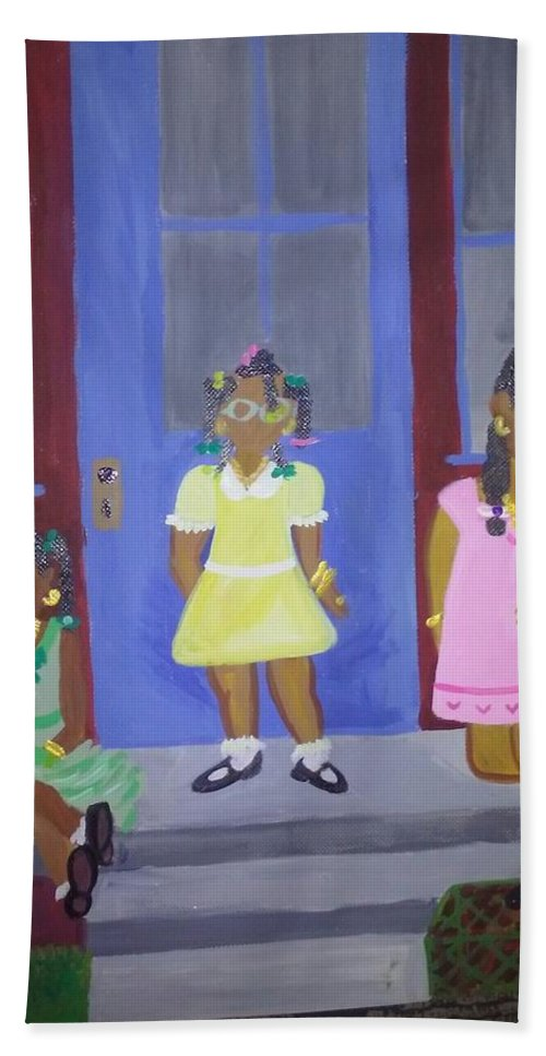 Girls Room. Livingroom. Playroom. Toddler Girls Baby's.family Room. Little Girls. Dreaming. Health Care Office. Pediatrics. Hand Towel featuring the painting Girl's Dreaming Of Being Women by Autoya Vance