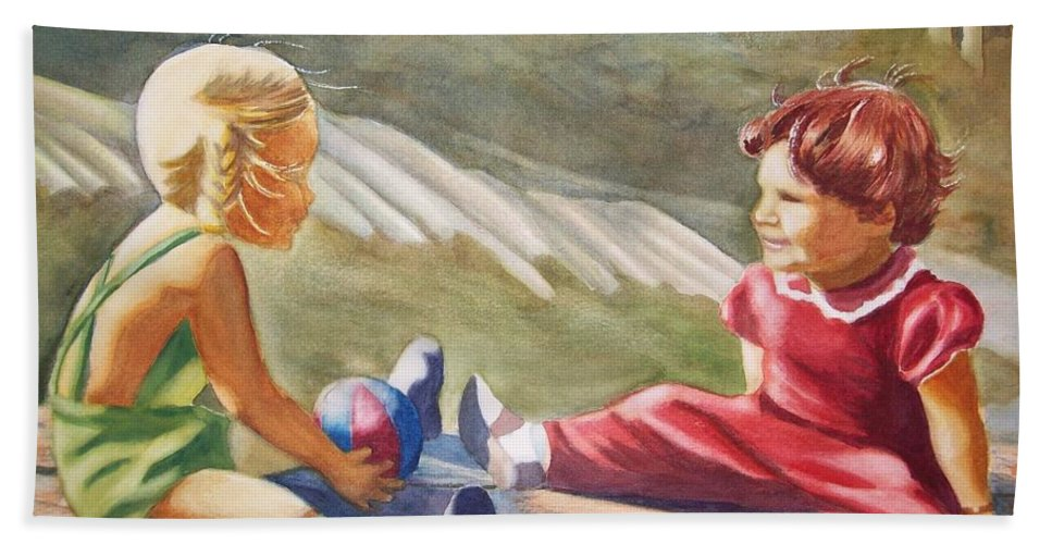 Girls Hand Towel featuring the painting Girls Playing Ball by Marilyn Jacobson
