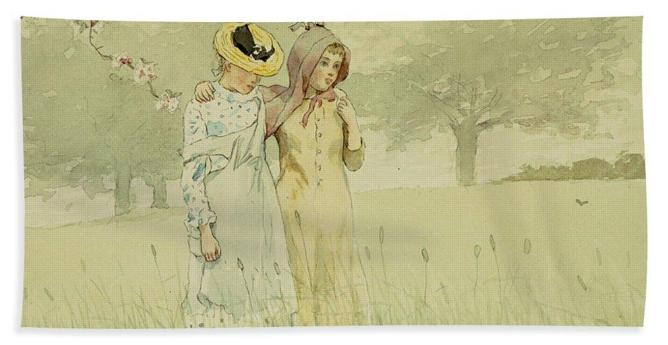 Girls Strolling In An Orchard Bath Sheet featuring the painting Girls Strolling In An Orchard by Winslow Homer