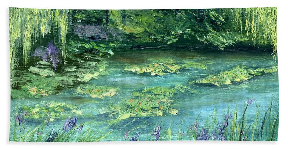Giverny Hand Towel featuring the painting Giverny by Gail Kirtz