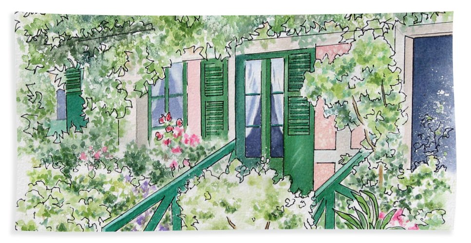Giverny Bath Towel featuring the painting Giverny Welcome by Deborah Ronglien