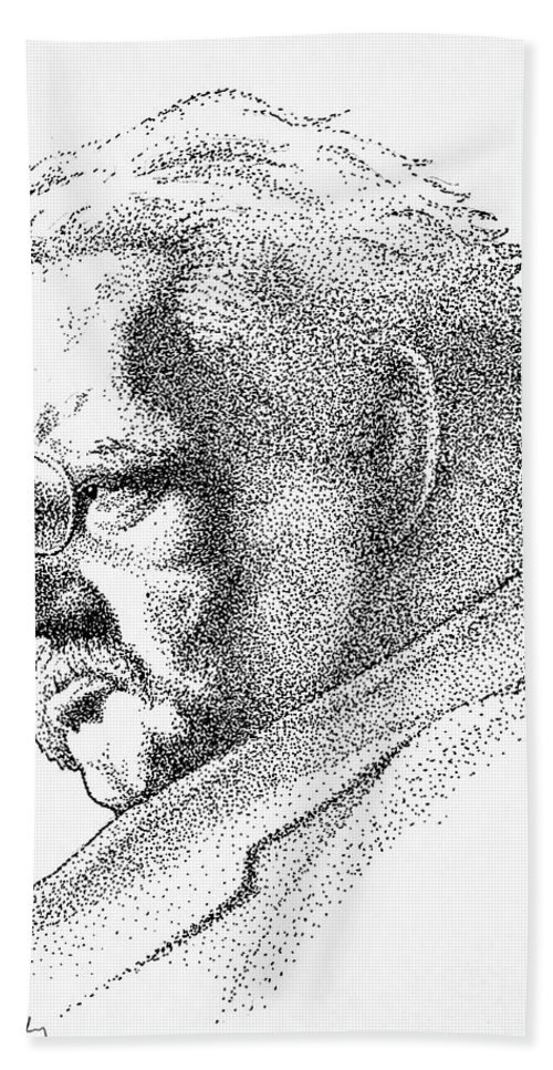 Gk Chesterton Hand Towel featuring the drawing Gk Chesterton by James Deady