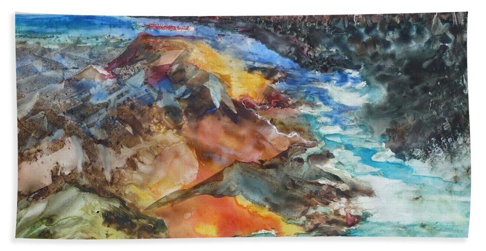 Abstract Hand Towel featuring the painting Glacial Meltdown by Ruth Kamenev