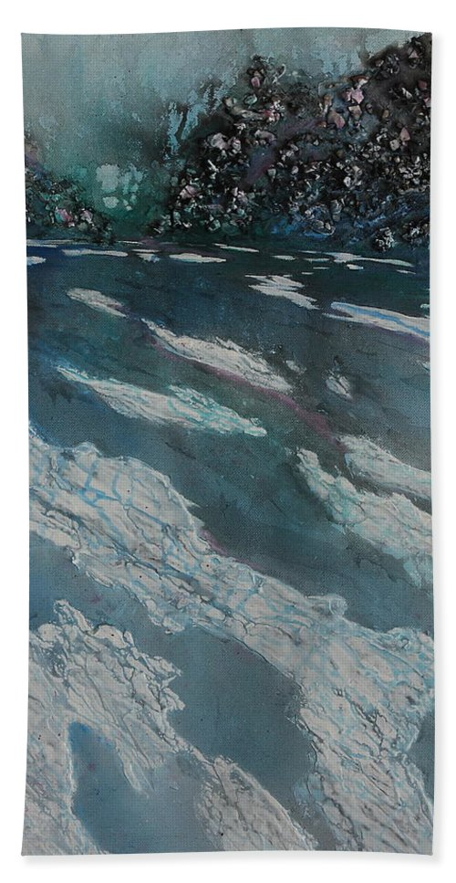 Ice Hand Towel featuring the painting Glacial Moraine by Ruth Kamenev