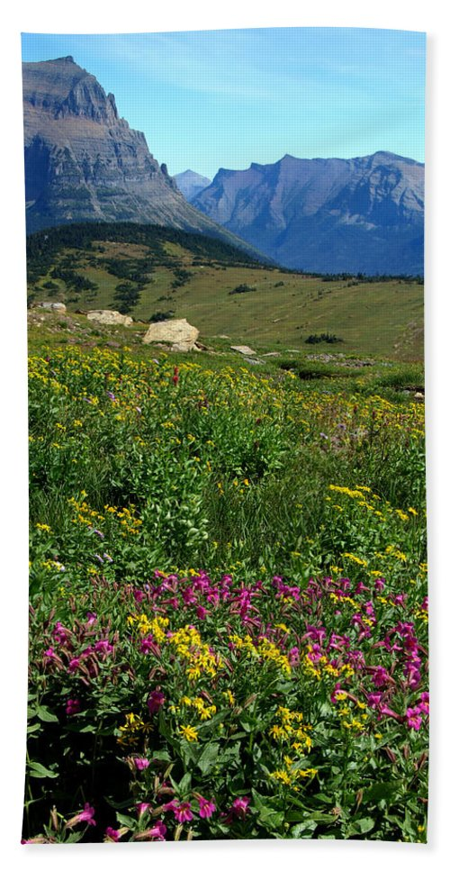 Glacier National Park Hand Towel featuring the photograph Glacier Blooms by Don Keisling