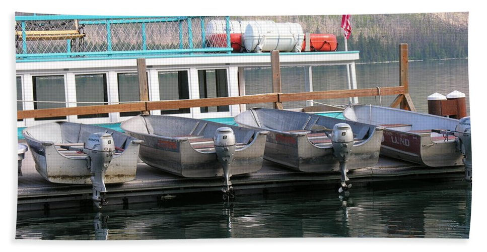 Boats Bath Sheet featuring the photograph Glacier Boating by Diane Greco-Lesser