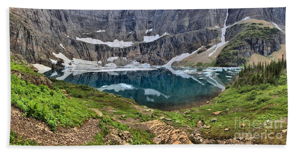 Iceberg Lake Panorama Hand Towel featuring the photograph Glacier Paradise by Adam Jewell