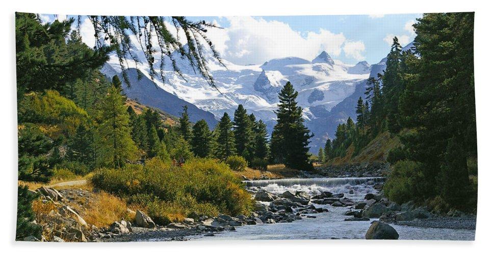 Mountain Bath Sheet featuring the photograph Glacier Stream by Tom Reynen