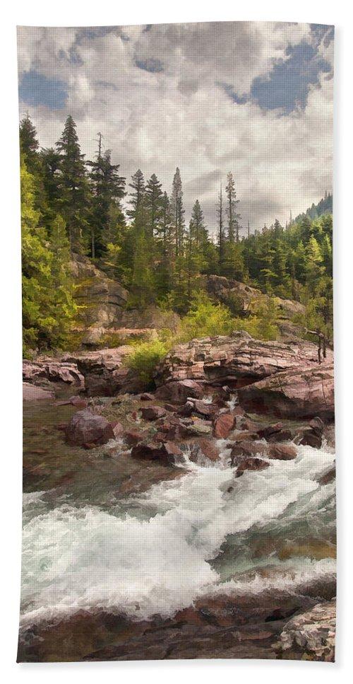 Landscape Bath Sheet featuring the digital art Glacier Waterfall by Sharon Foster