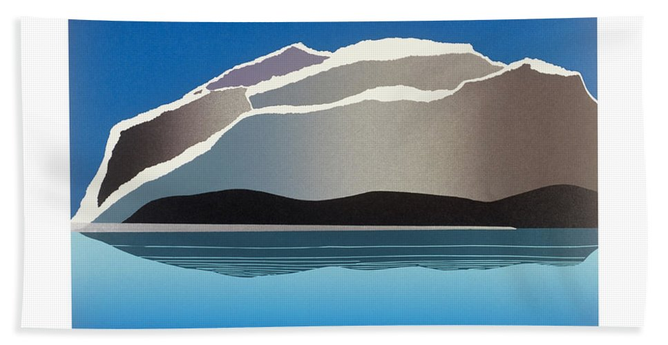Landscape Bath Towel featuring the mixed media Glaciers by Jarle Rosseland
