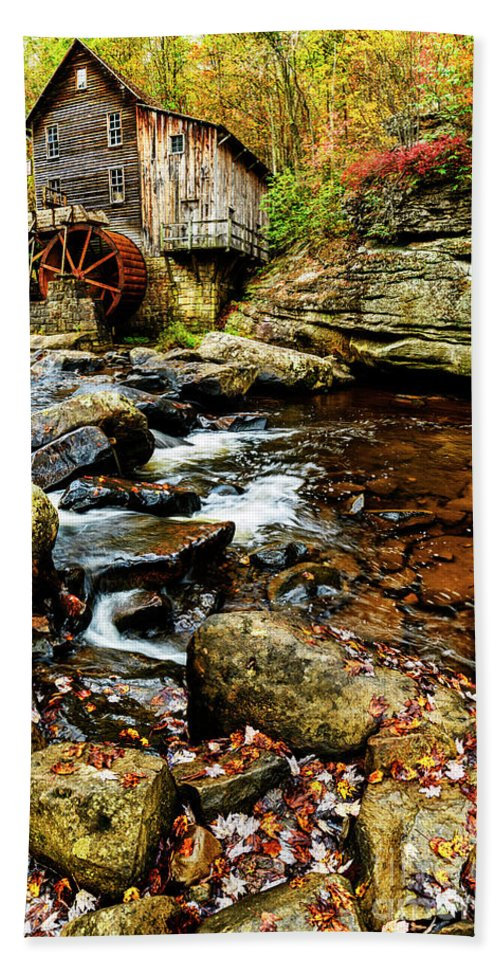Babcock State Park Hand Towel featuring the photograph Glade Creek Grist Mill Fall by Thomas R Fletcher