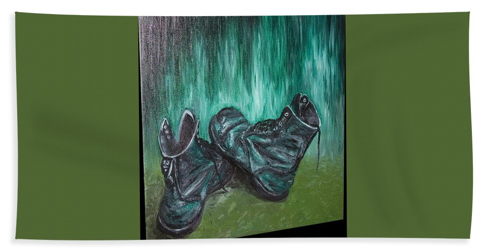 Shoes Hand Towel featuring the painting Gladiator by Pablo de Choros