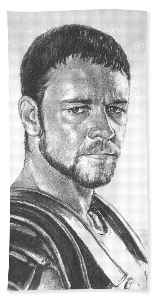 Portraits Bath Sheet featuring the drawing Gladiator by Iliyan Bozhanov