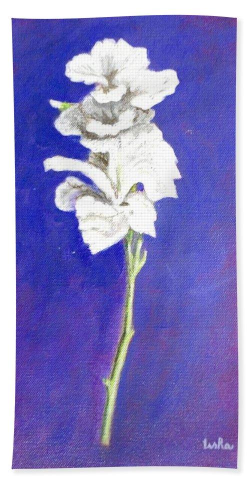 Flower Hand Towel featuring the painting Gladiolus 1 by Usha Shantharam