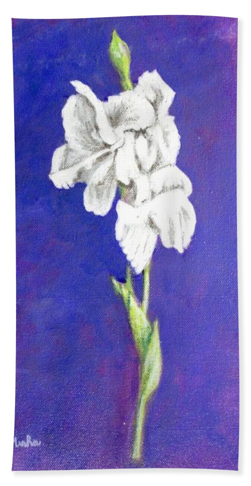 Hand Towel featuring the painting Gladiolus 2 by Usha Shantharam