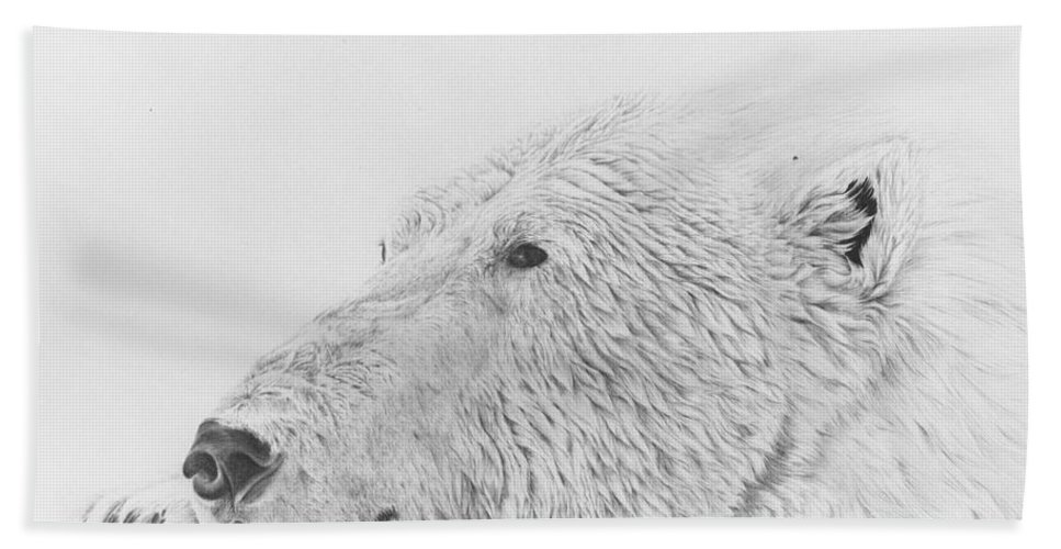 Polar Bear Hand Towel featuring the drawing Gladly by Glen Frear
